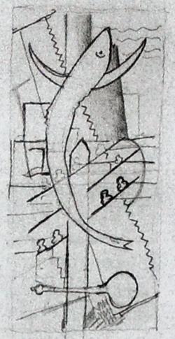 Кубофутуристичеекая композиция: рыба и пила