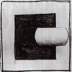 Малевич. Черный квадрат и белая трубчатая форма.