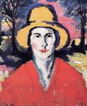 Портрет женщины в желтой шляпе.