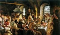 Картина Боярский свадебный пир в 17 веке. 1883