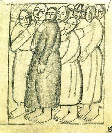 Крестьянки в церкви (Малевич К.С.)