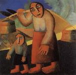 Картина Казимира Малевича Крестьянка с ведрами и ребенком.