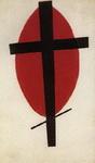 Черный крест на красном овале.