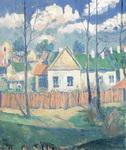 Картина Малевича Весна. Пейзаж с домиком.