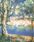 Картина Казимира Малевича Река в лесу.