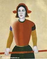 Девушка с красным древком. 1932-1933