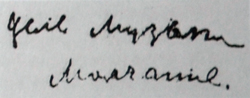 Автограф Цель музыки - молчание (ок. 1924 г.)