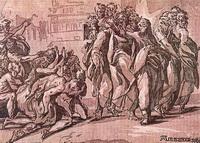 Христос исцеляет десять прокаженных (Н. Вичентино, 1525 г.)