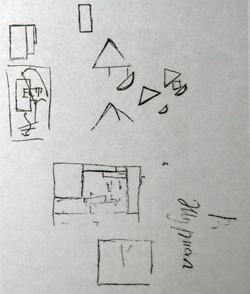 Рисунки-наброски на обороте последнего листа рукописи (Конец 1919 г.)