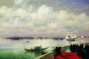 Посещение Байроном мхитаристов на острове св. Лазаря в Венеции (И.К. Айвазовский)